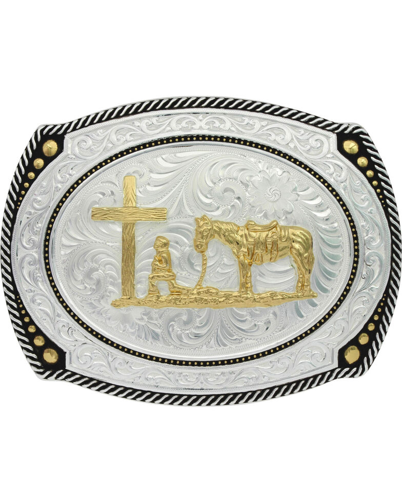 Montana Silversmiths Roped Christian Cowboy Buckle, Silver, hi-res