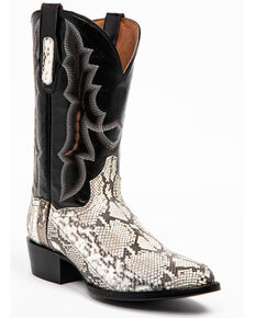 Dan Post Men's Natural Python Cowboy Boots - Round Toe, Black, hi-res