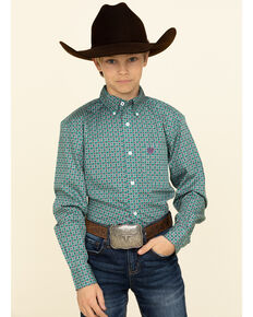 Cinch Boys' Green Geo Print Button Long Sleeve Western Shirt , Green, hi-res