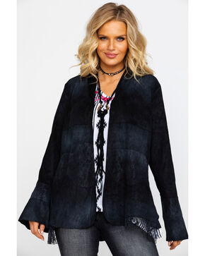 Vocal Women's Washed Suede Lace Inset Bell Sleeve Open Jacket , Black, hi-res