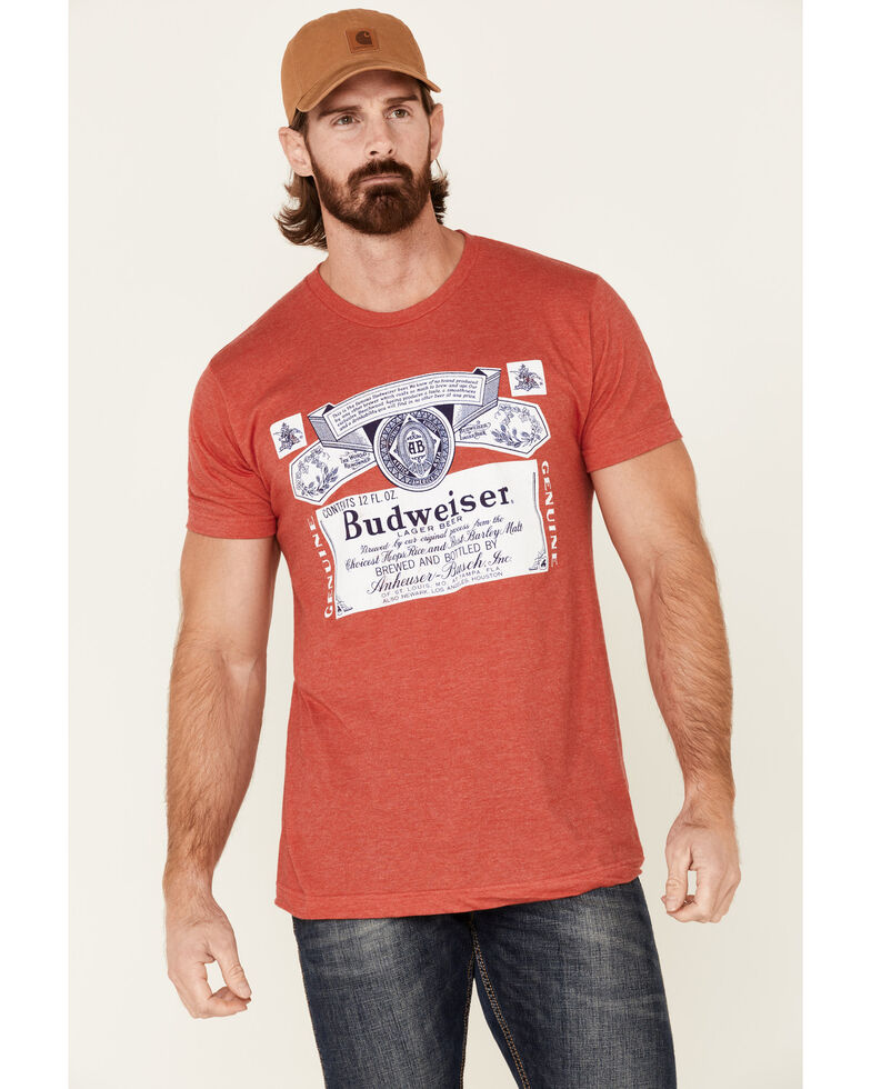 Brew City Beer Gear Men's Budweiser Label Graphic T-Shirt , Red, hi-res