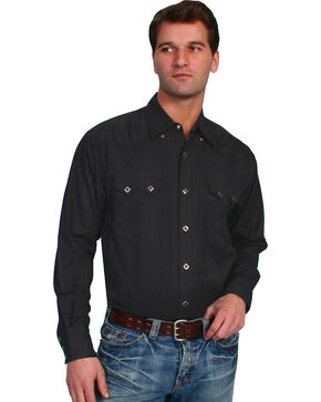 Scully Tone-on-tone Dobby Striped Western Shirt, Black, hi-res