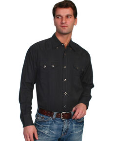 Scully Tone-on-tone Dobby Striped Western Shirt, Black, hi-res