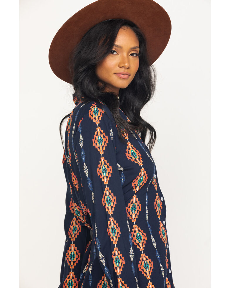 Rock & Roll Cowgirl Women's Navy Geo Print Duster, Navy, hi-res