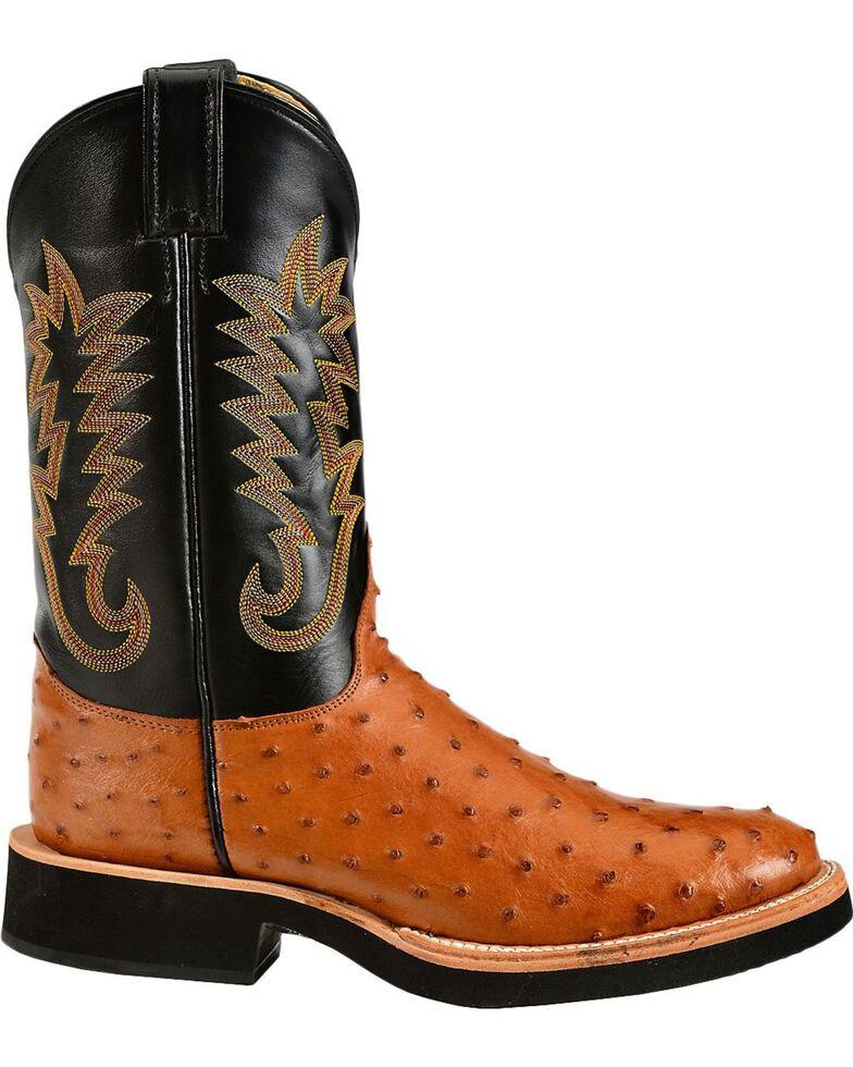 Justin Men's Full Quill Ostrich Western Boots, Cognac, hi-res