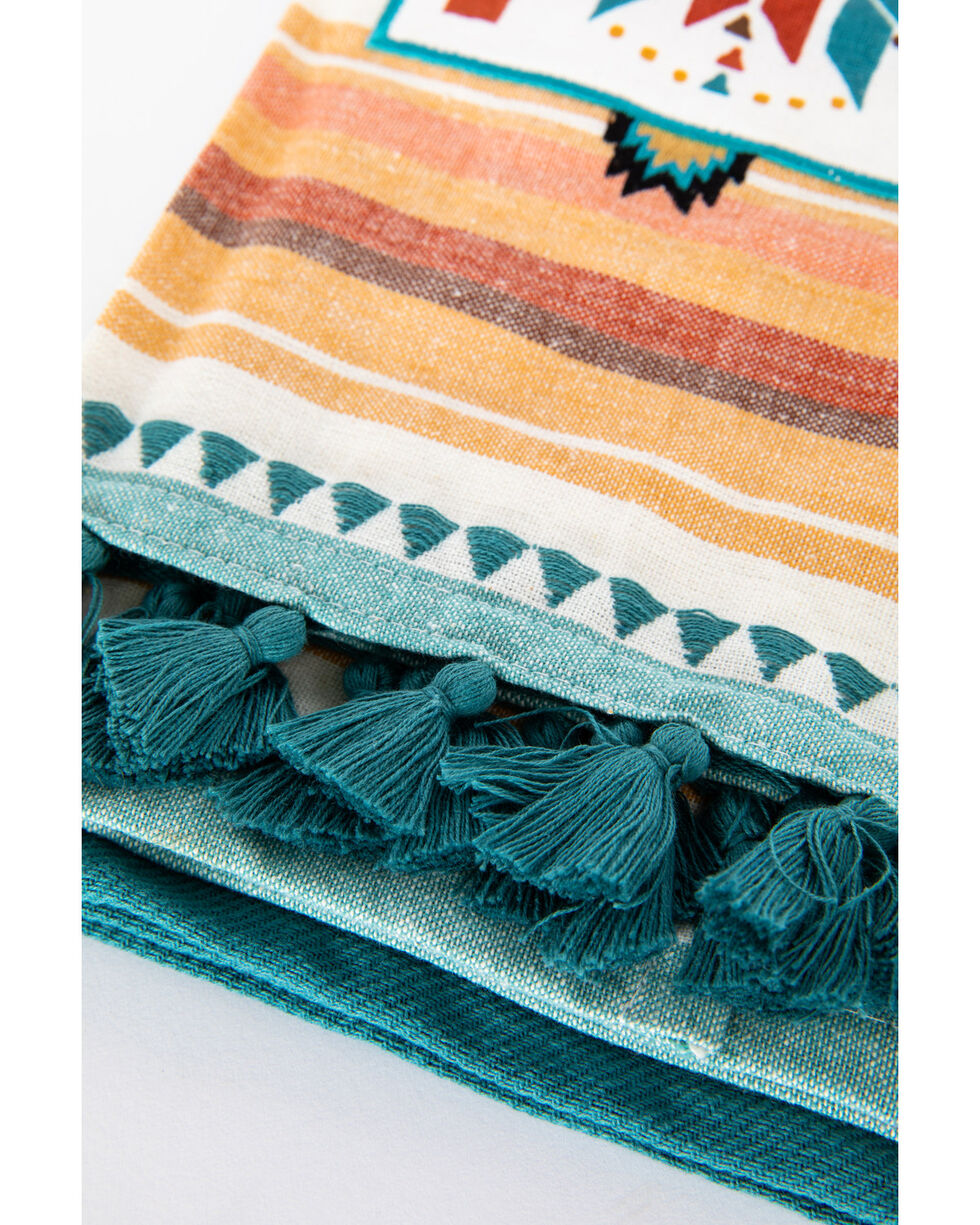 BB Ranch Southwestern Tea Towels, Turquoise, hi-res