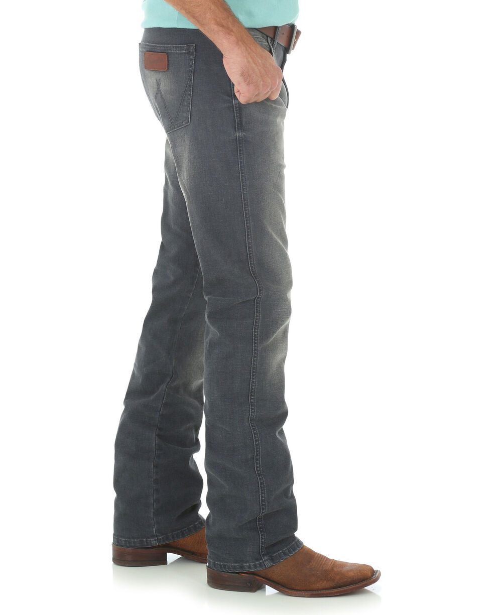 Wrangler Retro Men's Slim Fit Straight Leg Grey Denim Jeans - Long, Grey, hi-res
