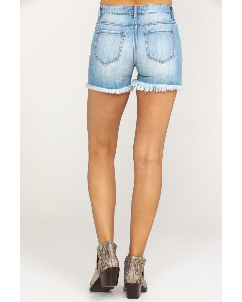 Miss Me Women's Basic Cutoff Destruction Denim Shorts , Blue, hi-res