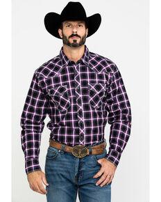 Wrangler 20X Men's Advanced Comfort Plaid Long Sleeve Western Shirt - Tall , Black/purple, hi-res