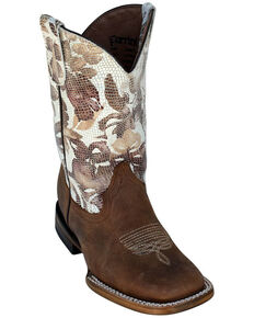 Ferrini Youth Girls' Floral Cowhide Western Boots - Square Toe, Chocolate, hi-res