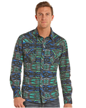 Rock & Roll Cowboy Men's Crinkle Washed Aztec Long Sleeve Snap Shirt, Teal, hi-res