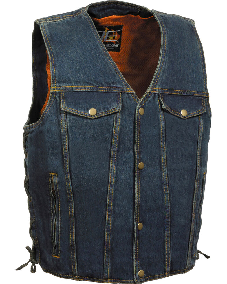 Milwaukee Leather Men's Side Lace Denim Vest w/ Chest Pockets, Blue, hi-res