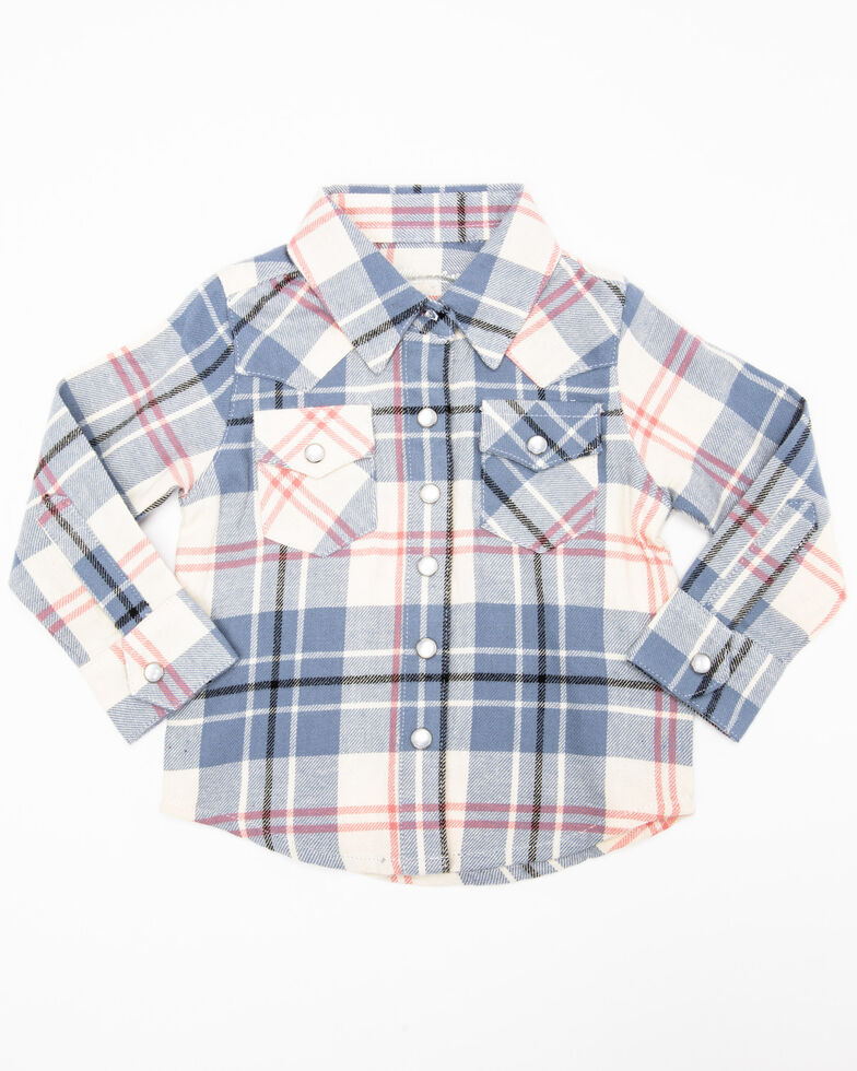 Wrangler Infant & Toddler Girls' Big Plaid Snap Long Sleeve Shirt, Multi, hi-res