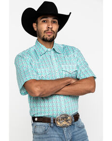 Wrangler 20X Men's Advanced Comfort Green Geo Print Short Sleeve Western Shirt , Green, hi-res