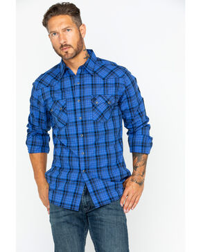 Wrangler Men's Retro Medium Plaid Shirt , Blue, hi-res