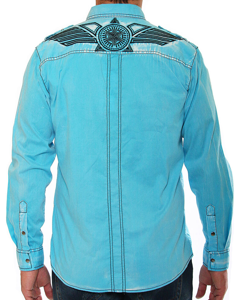 Austin Season Men's Blue Embroidered Long Sleeve Western Shirt , Blue, hi-res