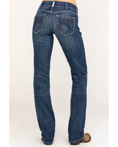 Ariat Women's R.E.A.L. Dresden Willow 3D Mid Straight Jeans , Blue, hi-res