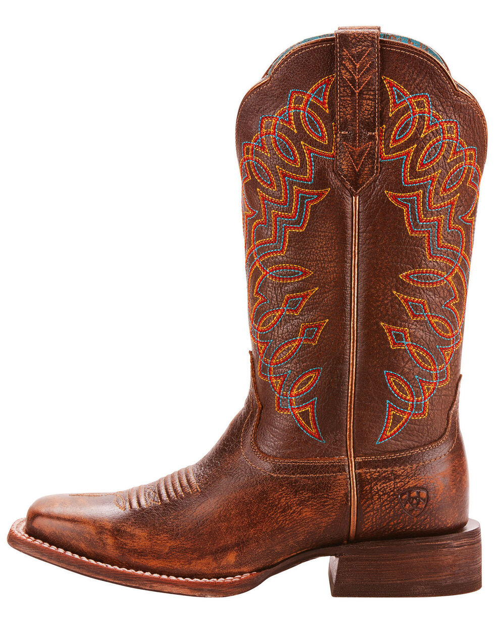 Ariat Women's Circuit Cisco Kickin Cocoa Cowgirl Boots - Square Toe, Dark Brown, hi-res