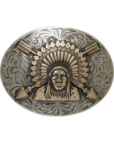 AndWest Men's Silver Sonoyta Vintage Indian Chief Buckle , Silver, hi-res
