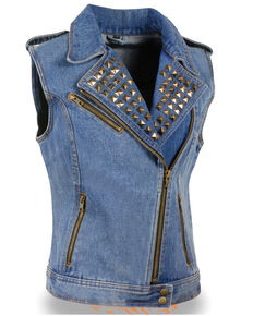 Milwaukee Leather Women's Studded Zip Front Denim Vest, Blue, hi-res
