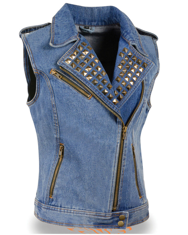 Milwaukee Leather Women's Studded Zip Front Denim Vest, Blue, hi-res