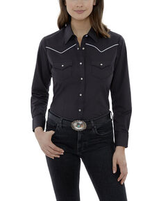 Ely Cattleman Women's Black Piping Long Sleeve Western Shirt - Plus, Black, hi-res