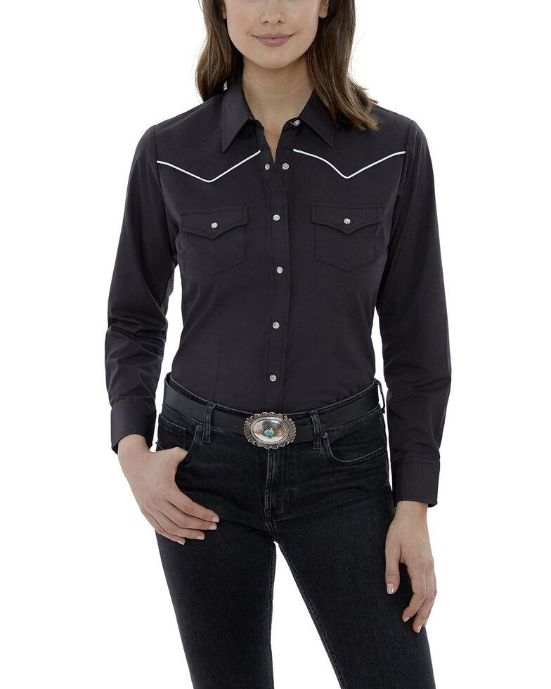 Ely Walker Women's Black Piping Long Sleeve Western Shirt - Plus, Black, hi-res