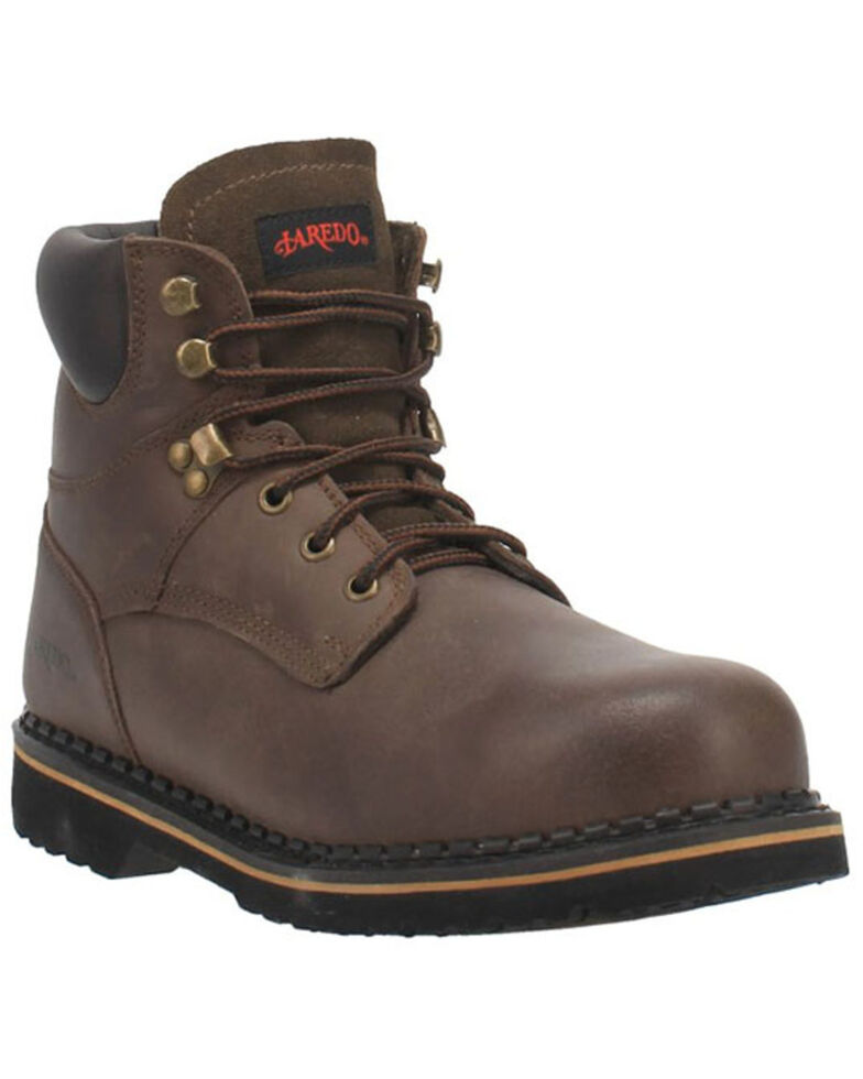 Laredo Men's Hub & Tack Lace-Up Work Boots - Steel Toe, Brown, hi-res