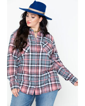 Derek Heart Women's Cotton Flannel Plaid Tab Sleeve Shirt - Plus, Pink, hi-res