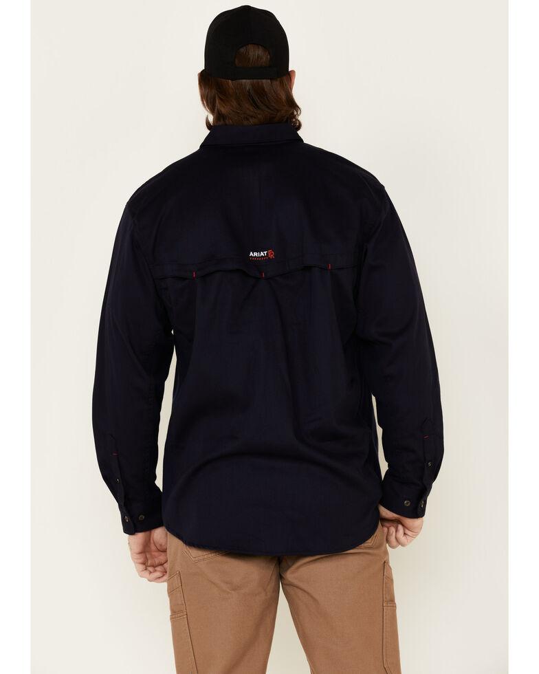 Ariat Men's Navy FR Solid Vent Long Sleeve Work Shirt , Navy, hi-res