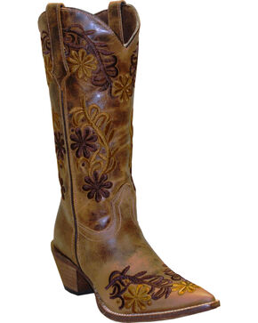 "Rawhide Women's 13"" Floral Embroidered Fashion Boots, Brown, hi-res"