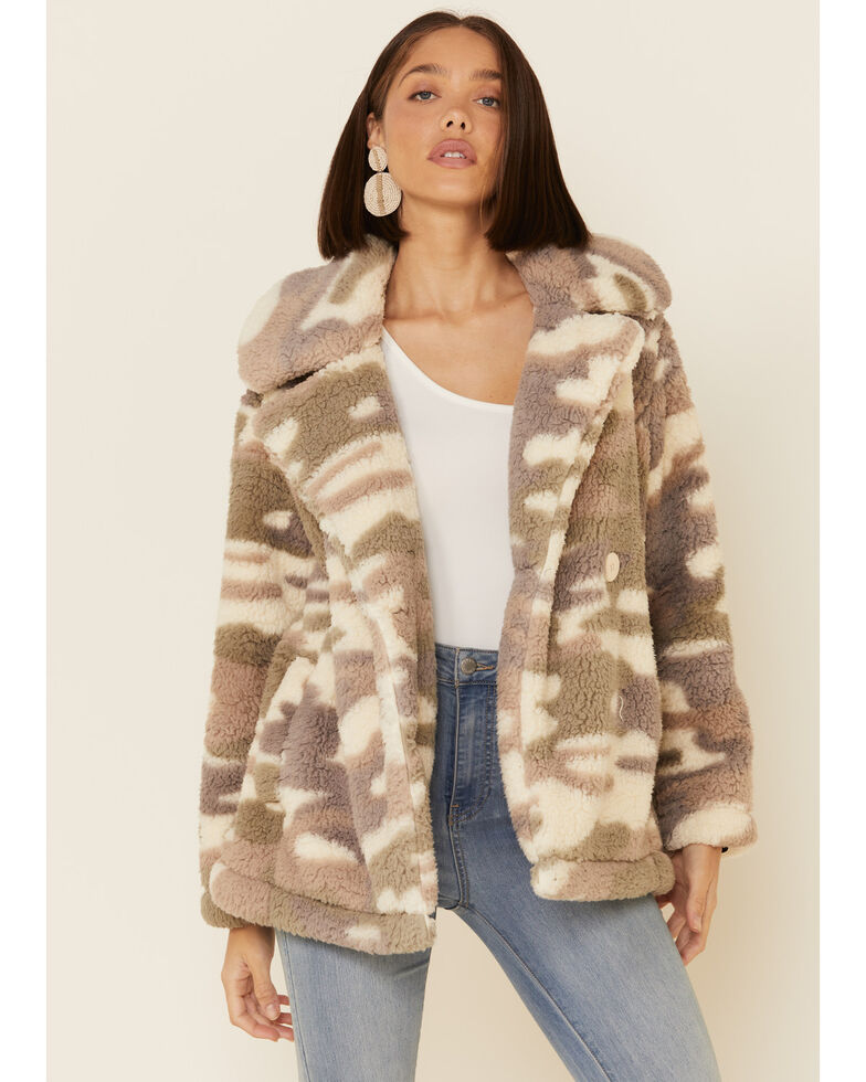 Z Supply Women's Multi Bone Camo Faux Fur Sherpa Jacket , Cream, hi-res