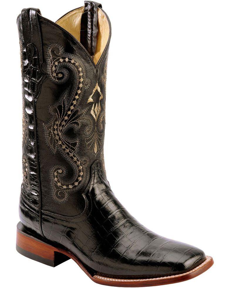 Ferrini Belly Caiman Alligator Print Cowboy Boots - Square Toe, Black, hi-res