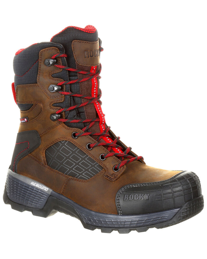 "Rocky Men's Treadflex Waterproof 8"" Work Boots - Composite Toe, Dark Brown, hi-res"