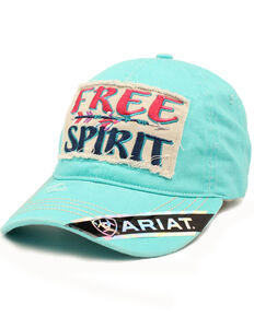 Ariat Women's Turquoise Free Spirit Ball Cap , Turquoise, hi-res