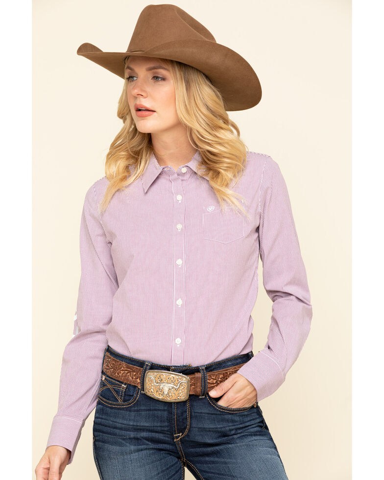 Ariat Women's Imperial Violet Stripe Team Kirby Stretch Long Sleeve Shirt, Purple, hi-res