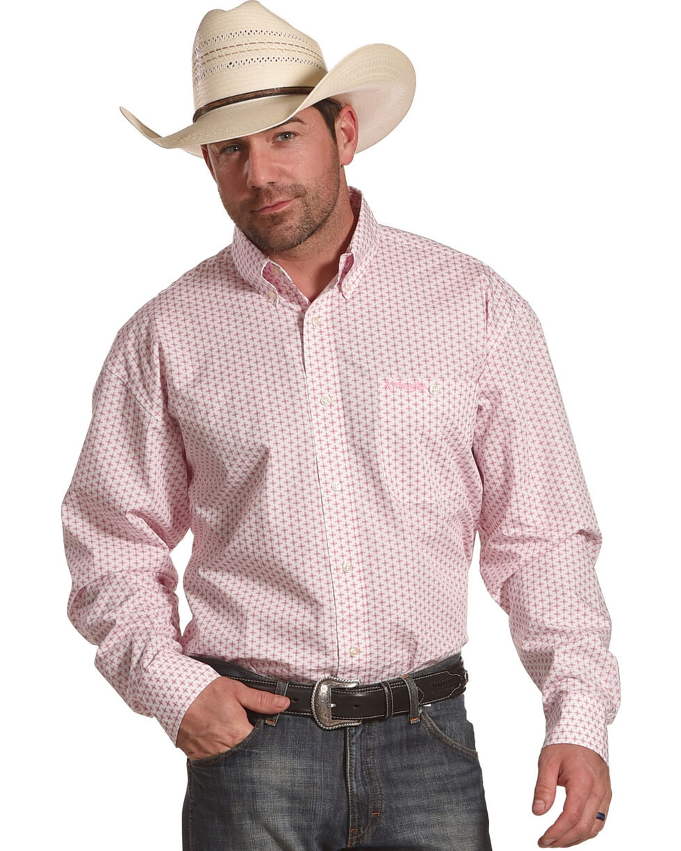 Wrangler Men's Tough Enough To Wear Pink Print Shirt , Pink, hi-res