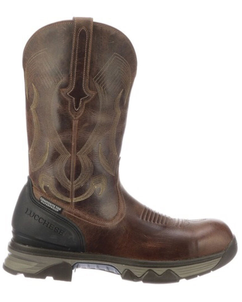 Lucchese Men's Performance Molded Western Work Boots - Composite Toe, Brown, hi-res