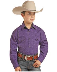 Panhandle Select Boys' Brushed Poplin Paisley Print Long Sleeve Western Shirt , Purple, hi-res