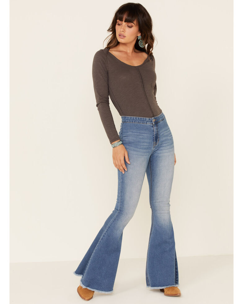 Rock & Roll Denim Women's Blue Bell Bottom Jeans, Blue, hi-res