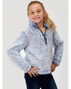 Roper Girls' Fuzzy Fleece Sweatshirt , Blue, hi-res