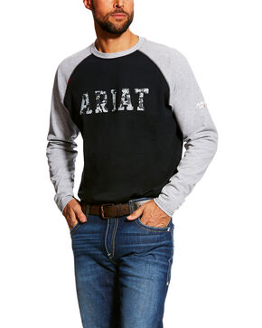 Ariat Men's FR Baseball Logo Crew Work Tee , Grey, hi-res