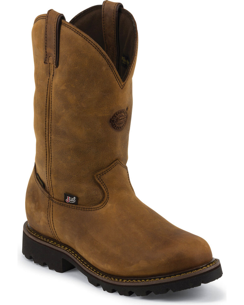 Justin Men's Tool Pusher Waterproof Insulated Work Boots - Plain Toe, Gaucho, hi-res