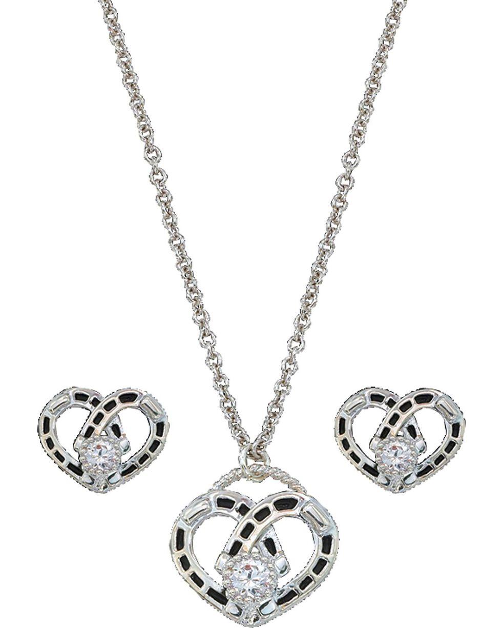 Montana Silversmiths Women's Heart Jewelry Set, Silver, hi-res
