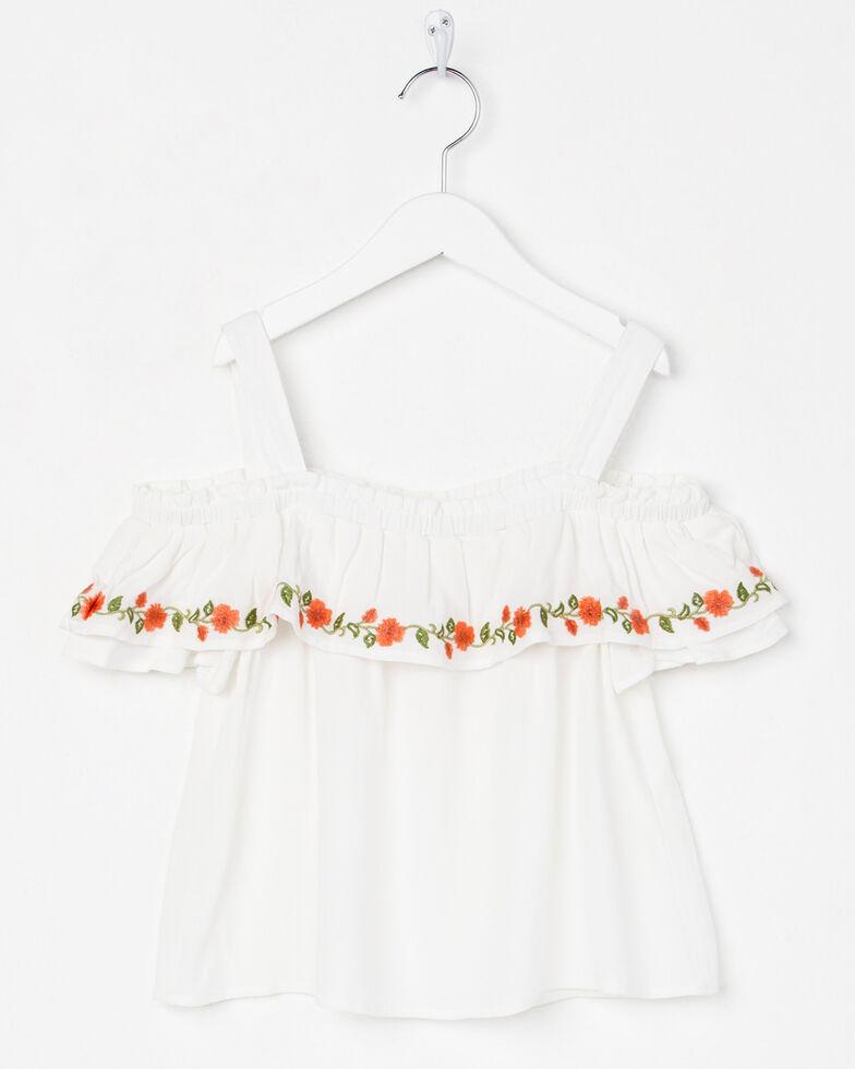 Miss Me Girls' Floral Bliss Off-The-Shoulder Top , White, hi-res