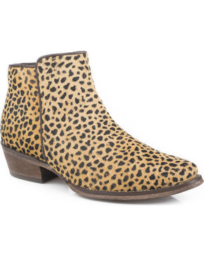 Roper Women's Tan Cheetah Hair Booties - Snip Toe, Tan, hi-res