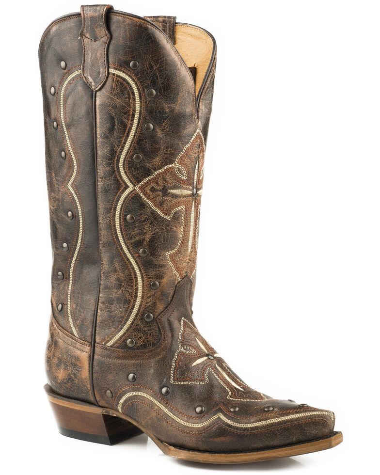 Roper Women's Pure Cross & Studs Cowgirl Boots - Snip Toe , , hi-res