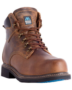 "McRae Men's 6"" Lace-Up Work Boots - Round Toe, Brown, hi-res"