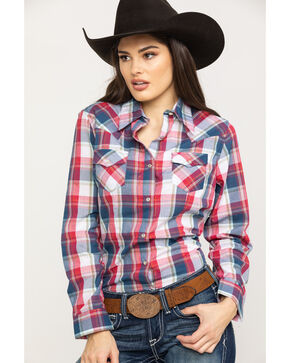 Wrangler Women's Multi Color Lurex Plaid Long Sleeve Western Shirt , Red/white/blue, hi-res