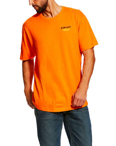 Ariat Men's Orange Rebar Cotton Strong Logo Work T-Shirt , Orange, hi-res